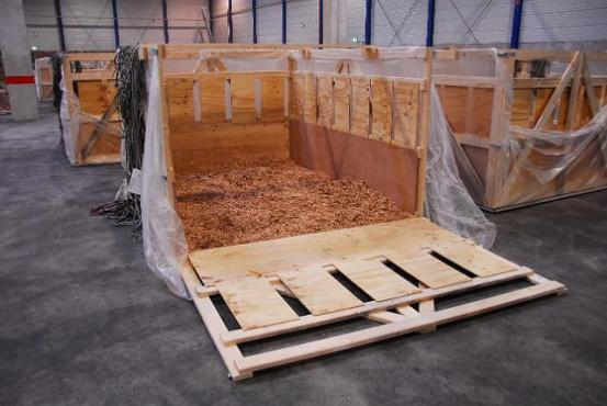 Empty cattle transport box